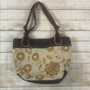 Fossil Large Canvas Floral Key Tote Purse Bag